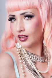 stunning girl with coral pink hair