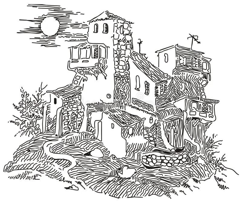 Altes Haus vektor abbildung. Illustration von hügel