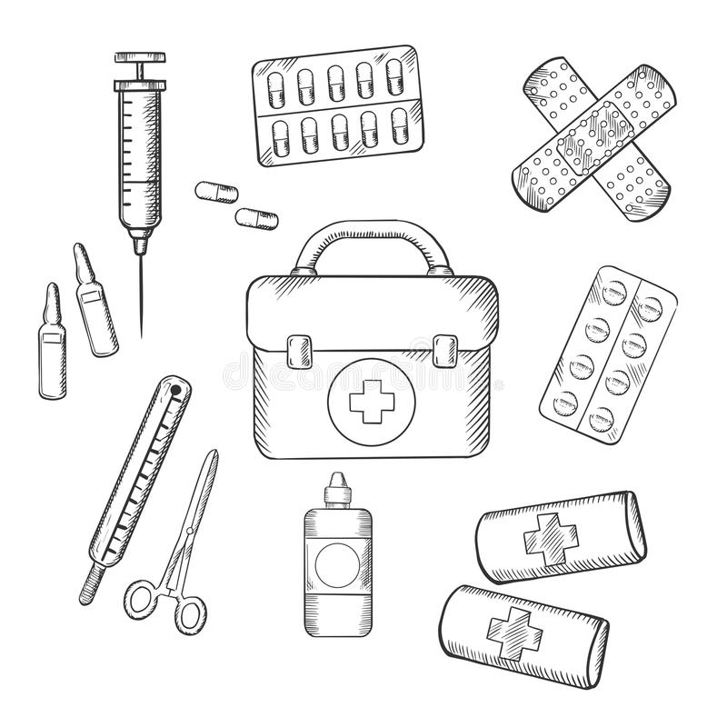 Ambulance And Medical Sketch Icons Stock Vector