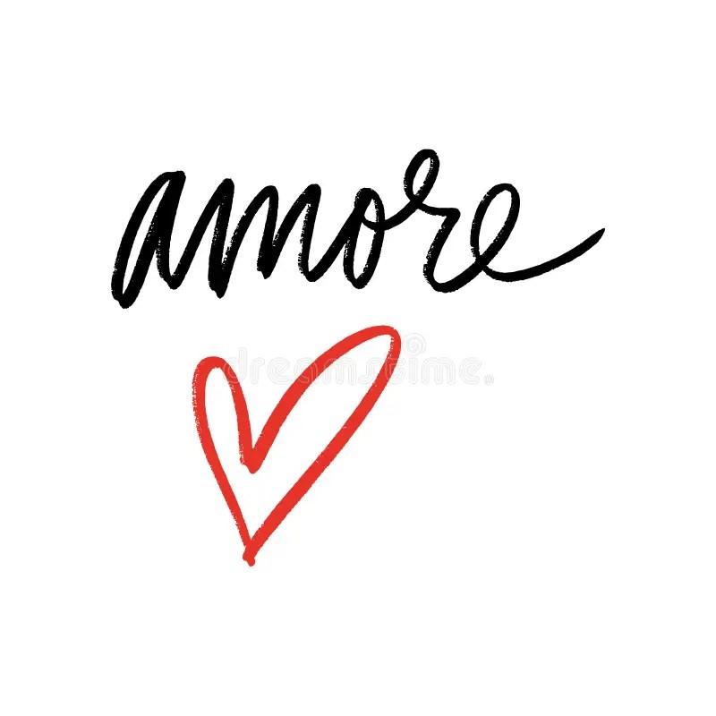 Italian: Amore. Heart Shaped Word Cloud Love, On White