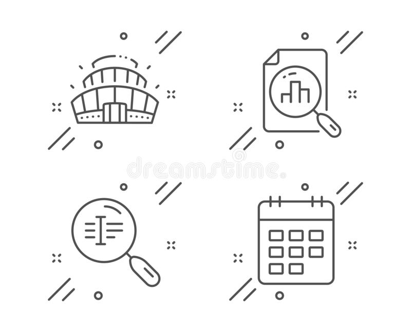 Calendar Graph, Column Chart And Accounting Report Icons