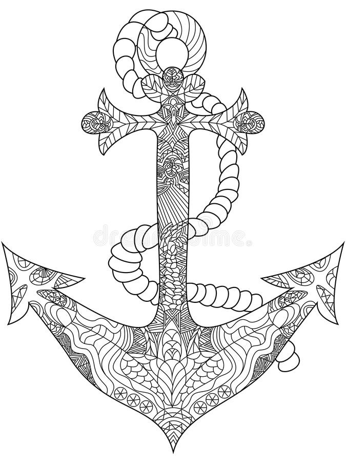 Anchor Coloring Vector For Adults Stock Vector