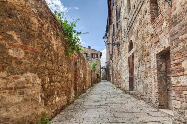 Ancient Alley In Colle Di Val D39Elsa Tuscany Italy Stock