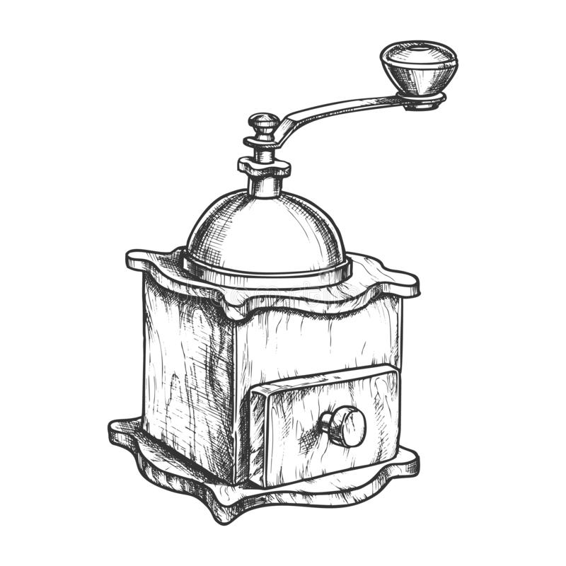 Vector Black-and-white Illustration Of The Manual Coffee