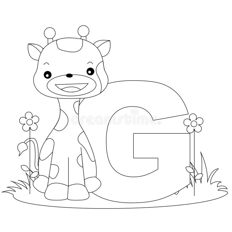 Animal Alphabet G Coloring Page Stock Vector