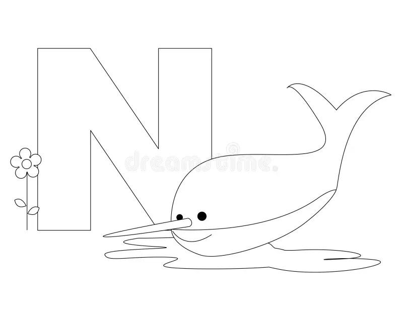 Animal Alphabet N Coloring Page Stock Vector Illustration Of Artwork Alphabet 9999287