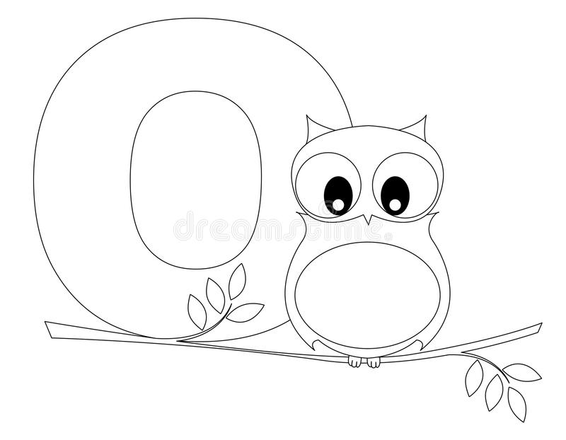 animal alphabet o coloring page stock vector
