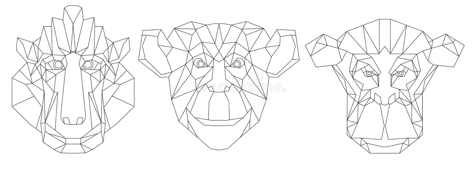Animal Head Triangular Icon-geometric Line Design Stock