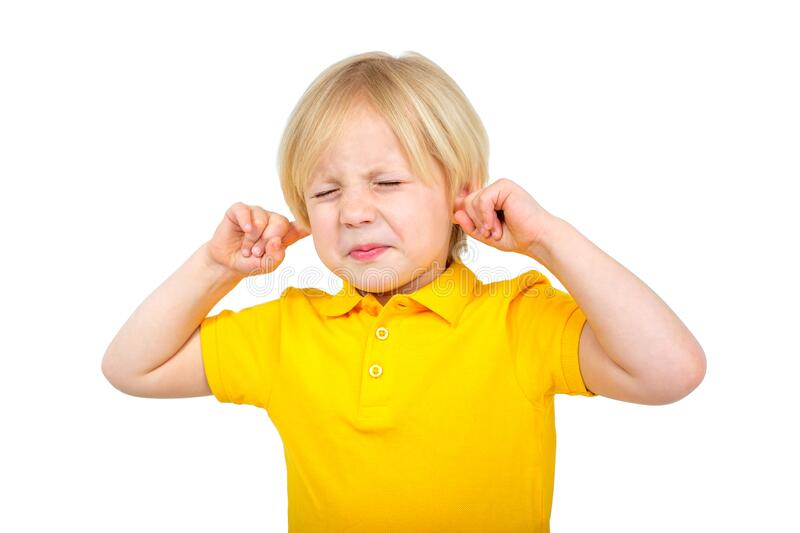 Stressed Child Covering His Ears Stock Photo - Image of ...