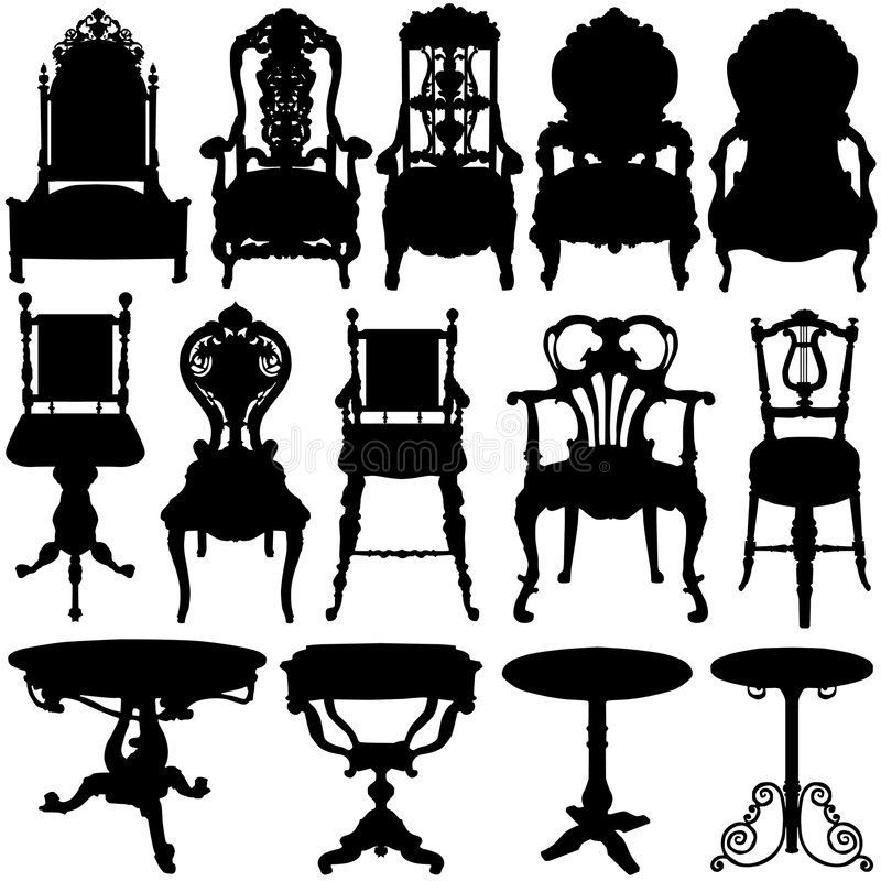 Antique Chair And Table Vector Stock Vector  Illustration