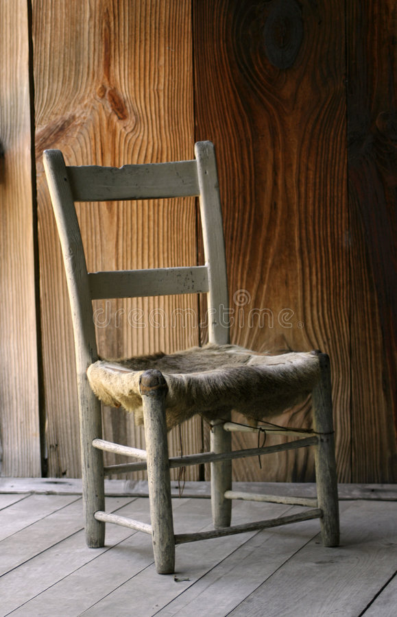Antique Wooden Cow Hide Chair Stock Image  Image 3308273
