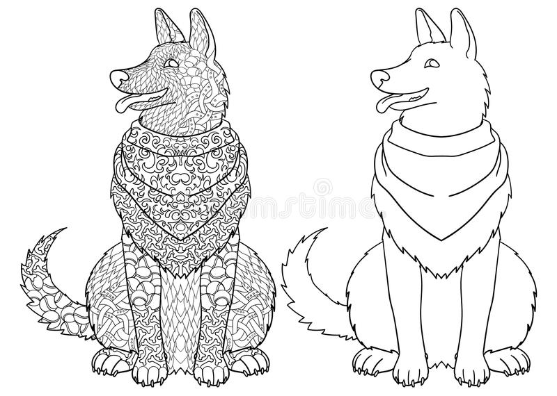 Dog Adult Antistress Or Children Coloring Page. Stock