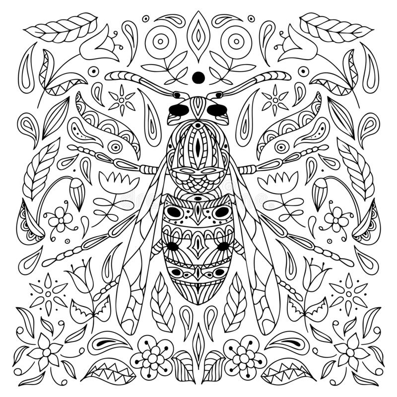 Antistress Coloring Page Insect Wasp Isolated On White Background Doodle Vector Illustration Stock Vector Illustration Of Detailed Background 177555420