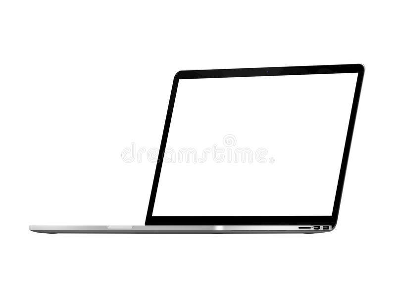Isolated Lightweight Laptop Computer White Screen Stock