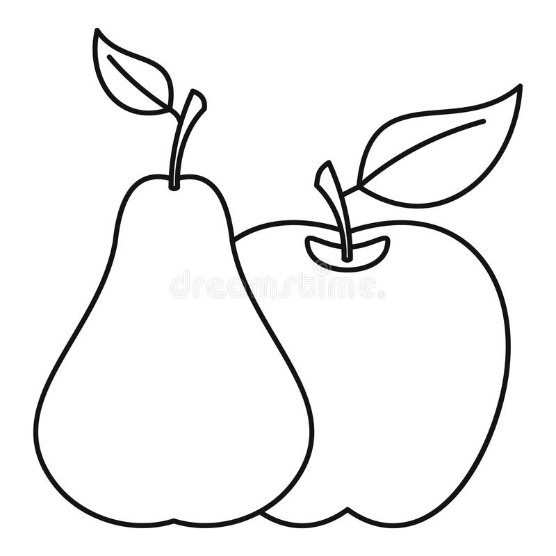 Apple And Pear Icon, Outline Style Stock Vector