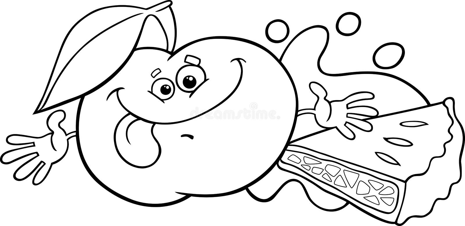 Apple And Pie Cartoon Coloring Page Stock Vector
