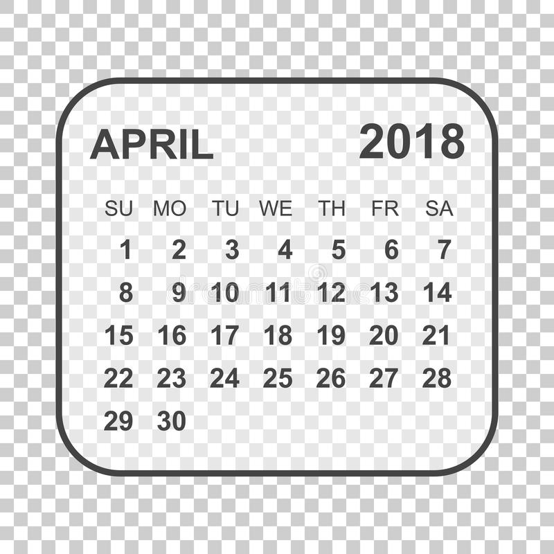 April 2018 Calendar. Calendar Planner Design Template