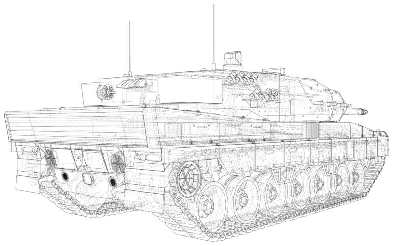 Army Tank Technical Wire-frame. Vector Illustration