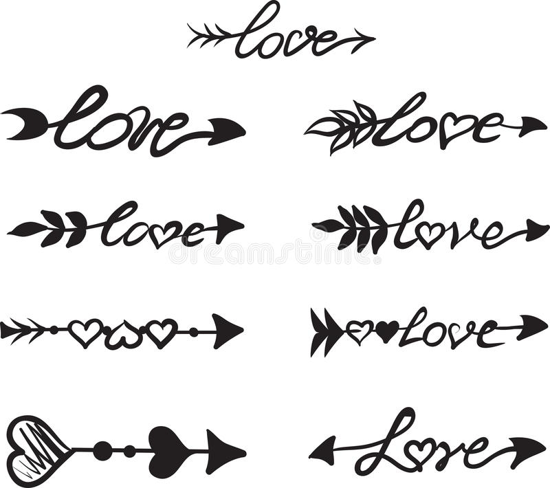 Download Arrows With Hearts And The Word Love Stock Vector ...