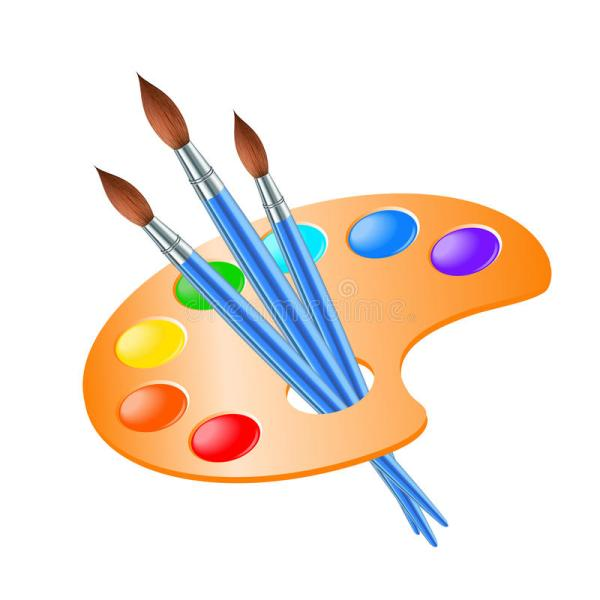 Art Palette With Paint Brush Drawing Stock Vector