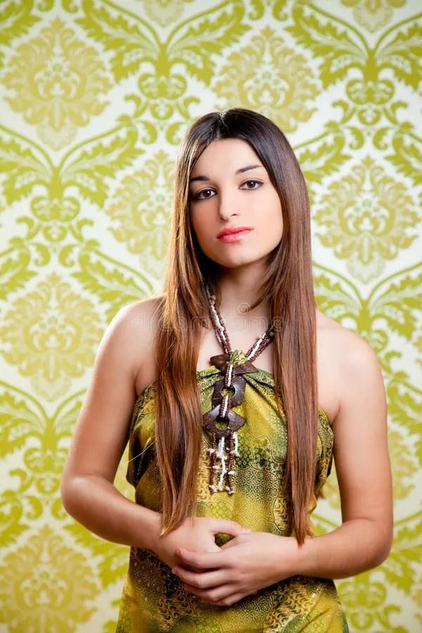 Retro Girl Wallpaper Asian Indian Beautiful Girl With Long Hair Stock Image