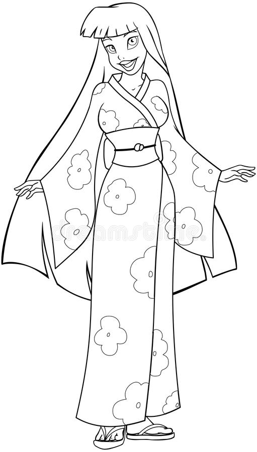 Asian Woman In Kimono Coloring Page Stock Vector