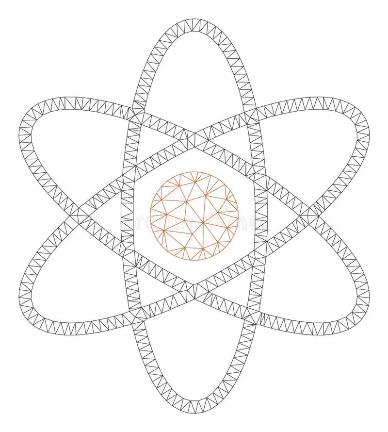 Polygonal Atom Concept. Thin Line Concept. Blue Shining