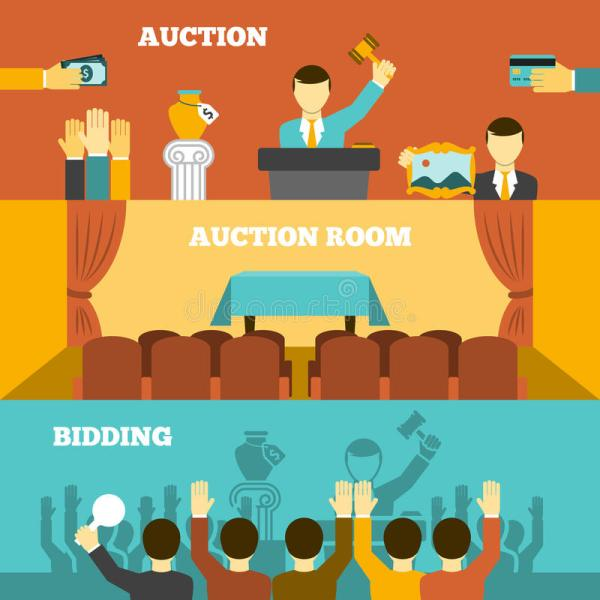 Auction Banners Set Stock Vector. Illustration Of Business