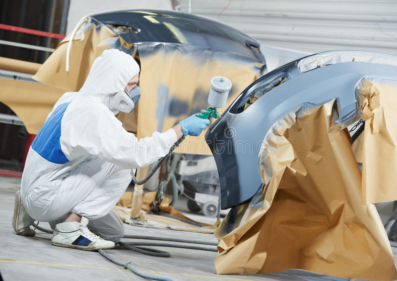 Auto Mechanic Painting Car Bumper Stock Photo Image Of