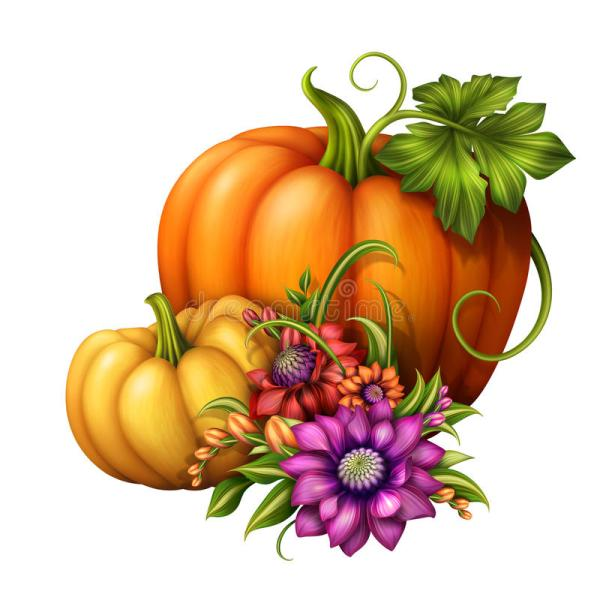 autumn pumpkins with seasonal flowers