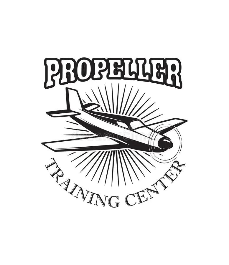 Aviation Training Center Emblem Template With Retro