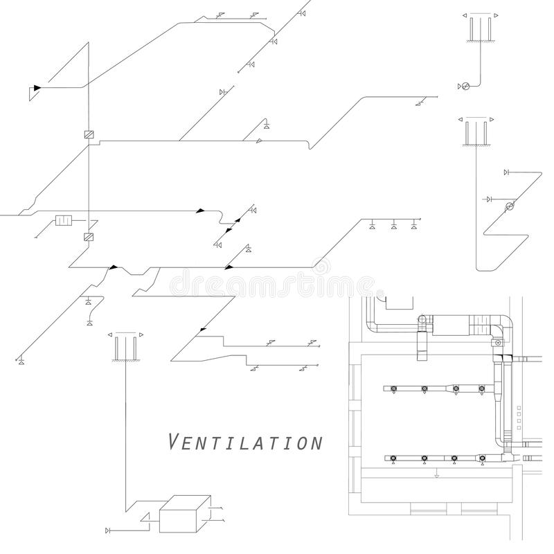 Axonometric View Of The Ventilation System. Vector Design