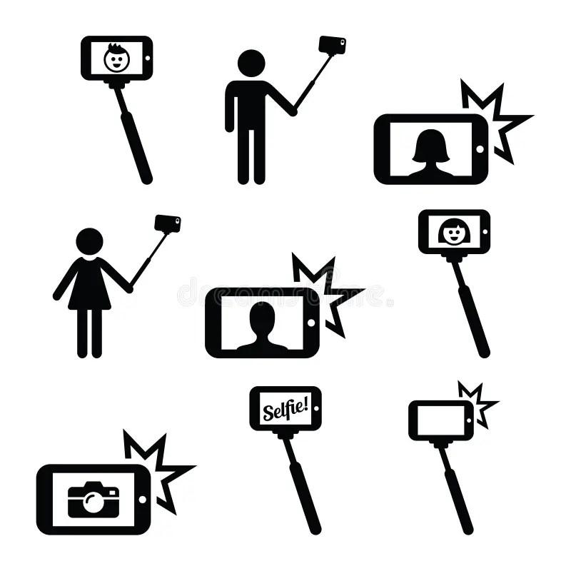 Bâton De Selfie Avec Des Icônes De Mobile Ou De Téléphone