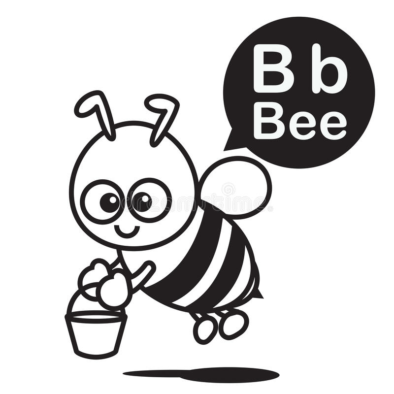 B Bee Cartoon And Alphabet For Children To Learning And