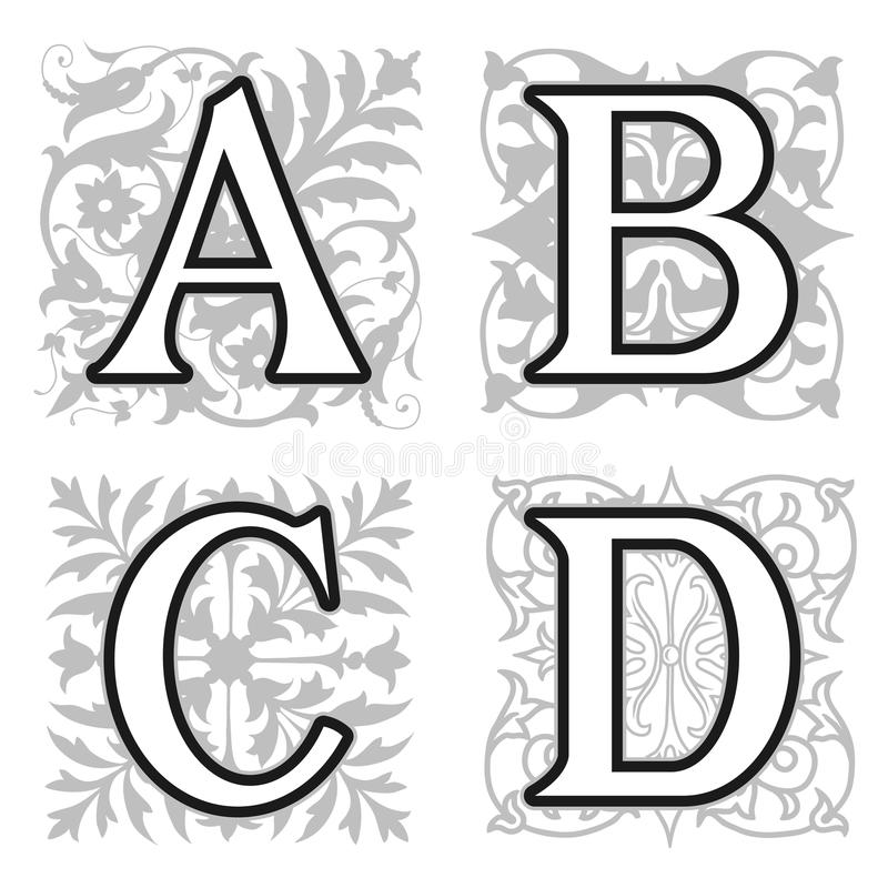 A, B, C, D Alphabet Letters With Floral Elements Stock