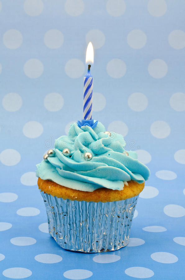 Baby Blue First Birthday Cupcake Royalty Free Stock