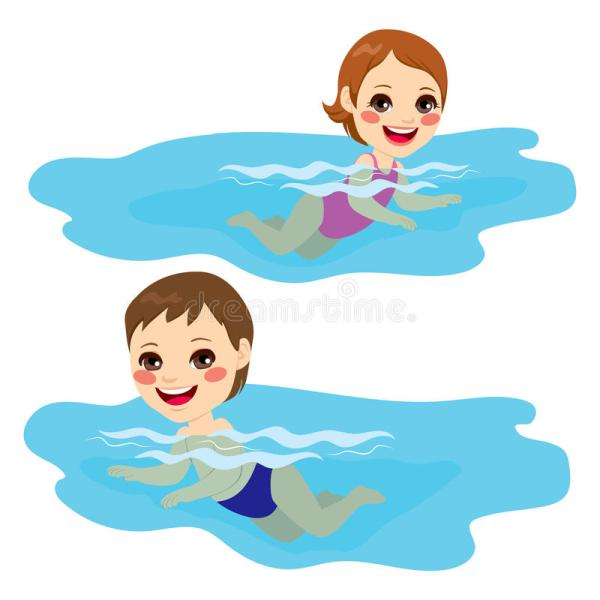 Baby Boy And Girl Swimming Stock Vector. Illustration Of