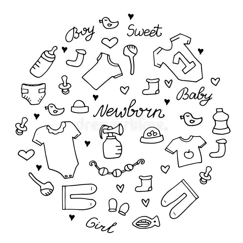 Baby Newborn Hand Drawn Doodle Set. Onesie, Pacifier