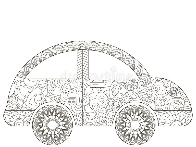 Baby Toy Car Coloring Book Vector For Adults Stock Vector