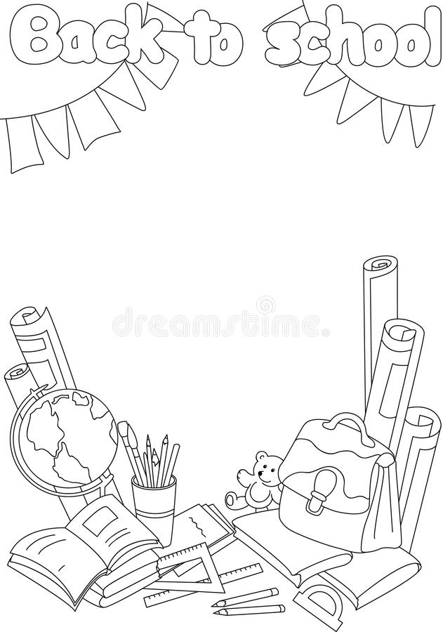 Back To School Coloring Book. Educational Background With