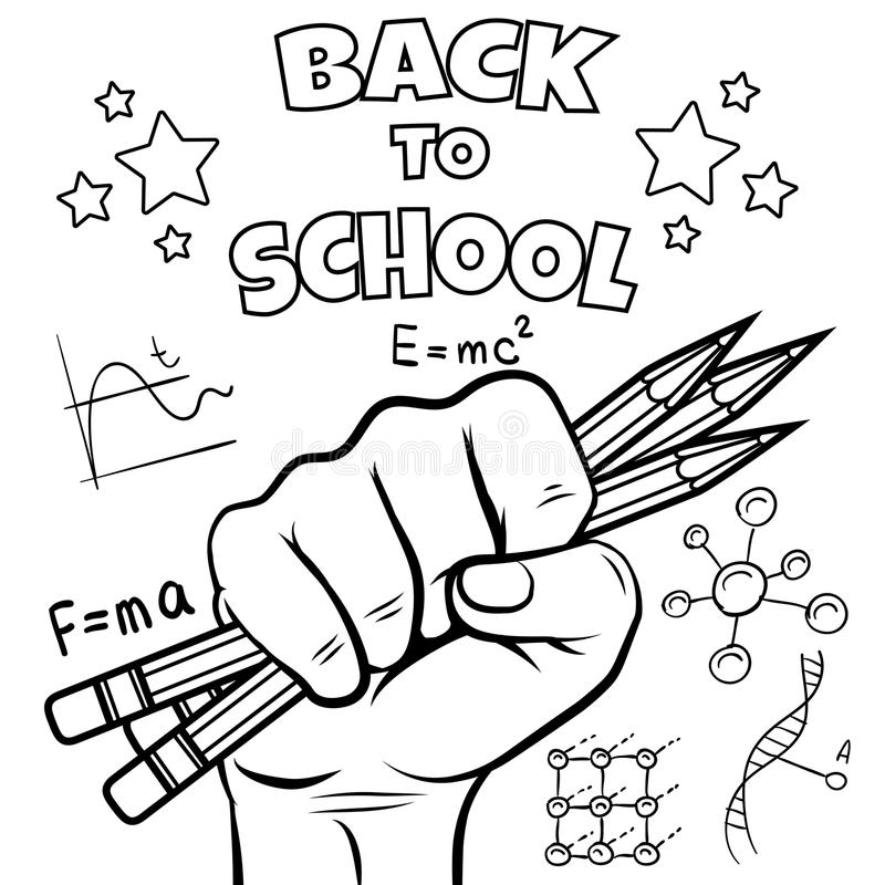 School Coloring Page Stock Illustrations