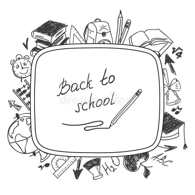 Back To School Drawing By Hand In A Notebook Stock Vector
