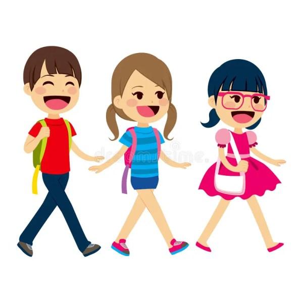 Cartoon Students Walking to School