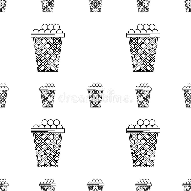 Golf Balls In Basket Black And White Stock Vector
