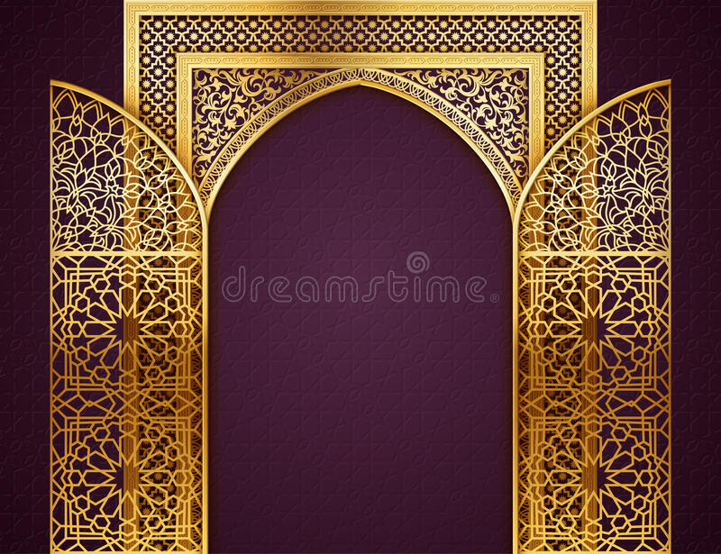 Background With Opened Doors Arabic Pattern Stock Vector