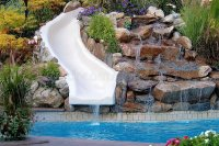 Backyard pool and slide stock photo. Image of outdoor ...