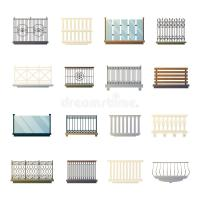Balcony Railings Design Flat Icons Collection Stock Vector