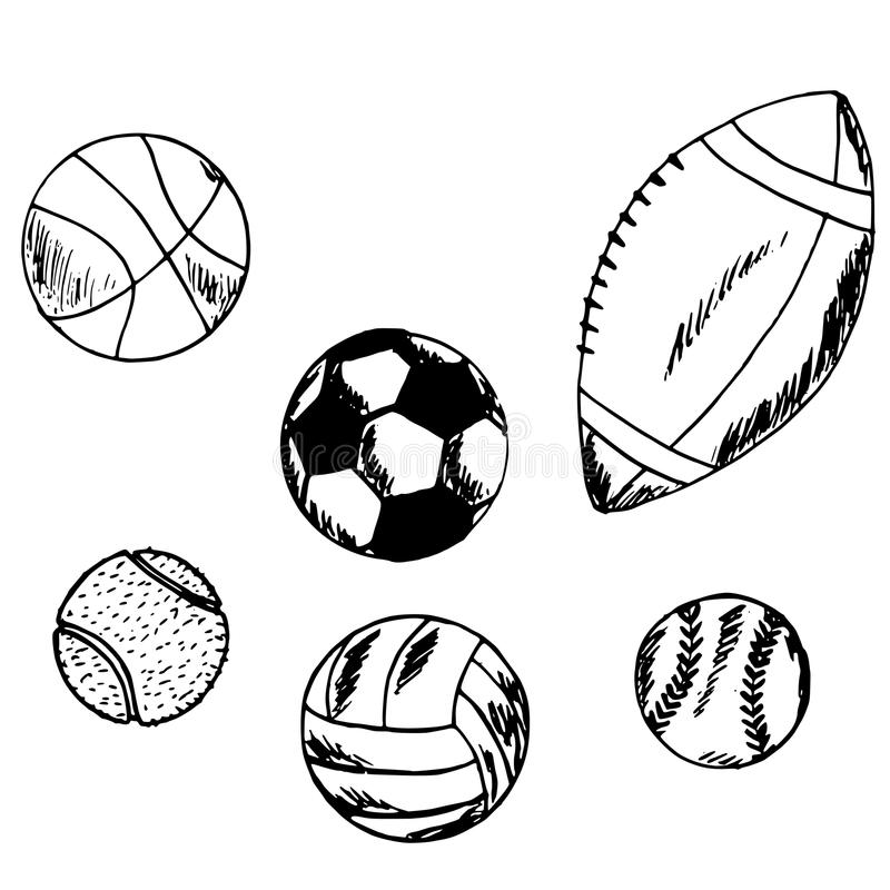 Balls Doodle, Sports, Team Sport, Sketch Stock Vector