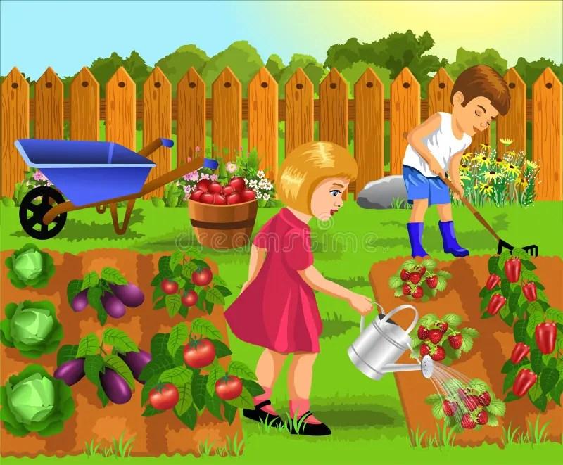 Bambini Che Fanno Lavoro Di Giardinaggio Illustrazione Vettoriale  Illustrazione di giardino