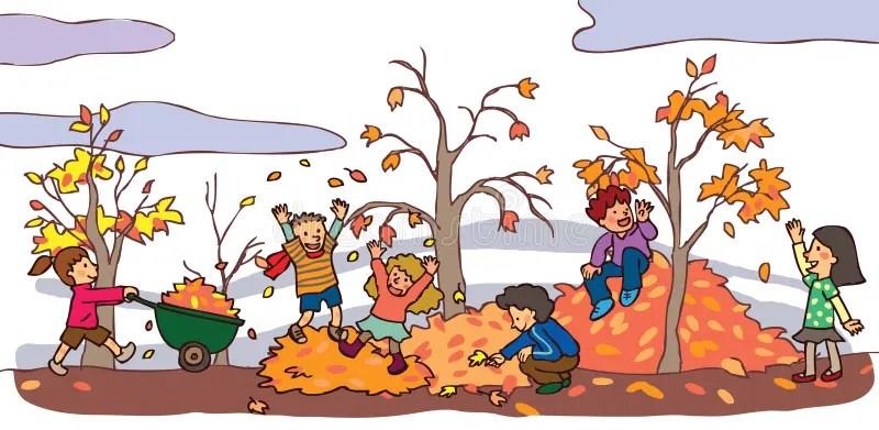 Bambini Che Si Divertono Nel Paesaggio Di Autunno v Immagine Stock  Immagine 33475981